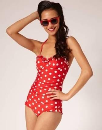 maillot de bain rouge a pois corail femme push up  une piece frange pas cher